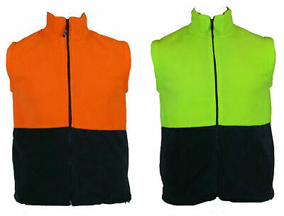 HI VIS Polar Fleece Vest Full Zip Safety Workwear High Visibility S-5XL Fleecy