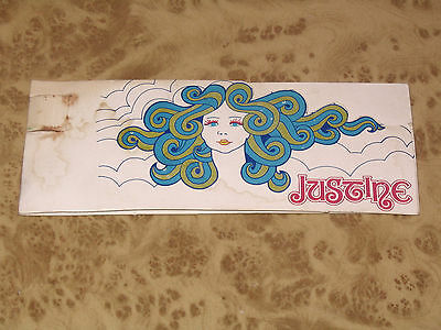 JUSTINE 60s Vintage Perfume Scent Advertisement - Retro Tag w/ Poetry etc