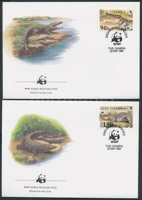 Gambia stamp WWF Nile Crocodiles set on 4 FDC Cover 1984 Mi 517-520 WS141735