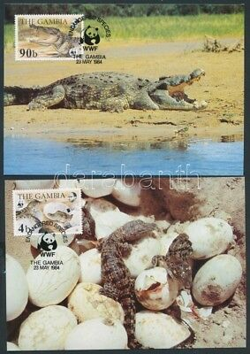 Gambia stamp WWF Nile crocodiles set on 4 CM Cover 1984 Mi 517-520 WS141738
