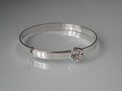 Brand New Sterling Silver Claddagh Christening Expanding Bangle - Gift Boxed