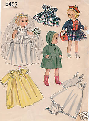"""3407 Vintage Chubby Doll Pattern - Size 14"""" - Year 1950"""