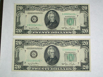 2 X  1950 $20 Star*  Frn Replacement Notes Consecutive & Unc!!