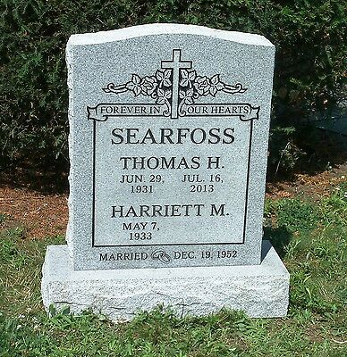 Granite Headstone Grave Marker- gray- multiple engraving options dual names