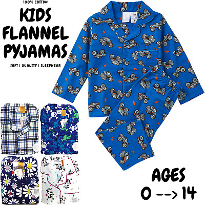 KIDS FLANNELETTE PYJAMAS Winter PJs 100% COTTON Sleepwear Boys Girls Sizes 0-14