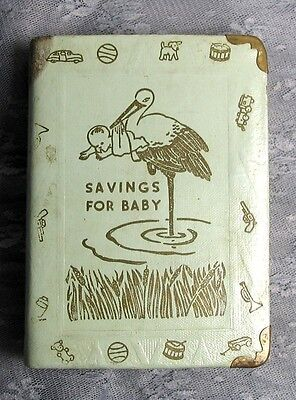 VINTAGE METAL BOOK BANK SAVINGS FOR BABY Zell Co