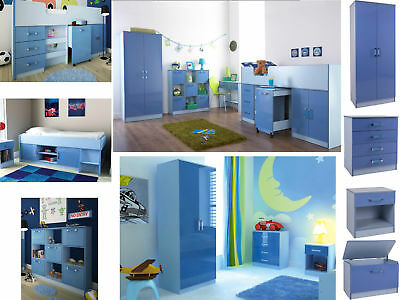 Ottawa Caspian Blue Gloss Boys Bedroom Furniture - Wardrobe Drawers Beds Sets