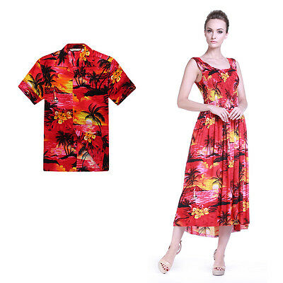 Couple Matching Shirt Dress Outfit Hawaiian Cruise Valentine Wedding Sunset Red