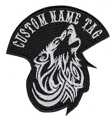 Custom Embroidered Lone Wlof name tag Motorcycle Biker Badges