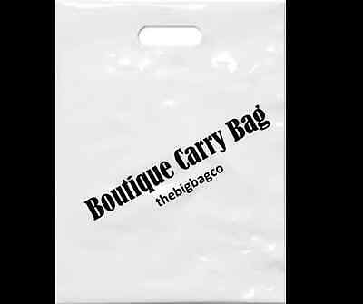 WHITE BOUTIQUE PLASTIC SHOPPING CARRY BAGS x 100 - WITH CARRIER HANDLE 385x500mm