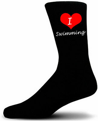 I Love Swimming Socks.  Black Cotton Socks.