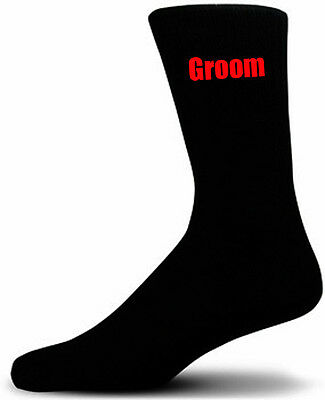 Black Luxury Cotton Rich Wedding Socks With Red Text, Groom, Best Man, Usher