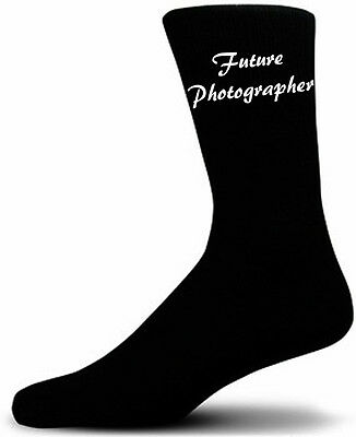 Future Photographer Black Novelty Socks  ….Luxury Cotton Novelty Socks