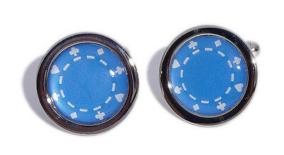 Blue Poker Chip Cufflinks