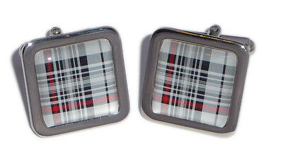 Tartan Cufflinks - Red, Black & White