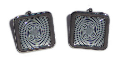 Black & White Spiral Optical Illusion Cufflinks