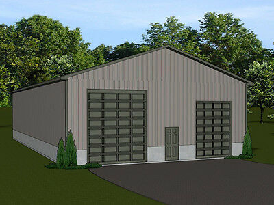 40'x80'  Barn plan with 4 overhead garage doors - blueprint #1335