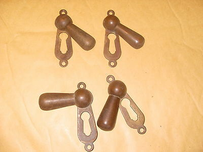 4 x Brass Key Escutcheons - As Photo