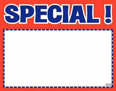 """100 SPECIAL 3.5"""" x 5.5"""" Classic Red Blue Accents Retail Value Sale Signs Cards"""