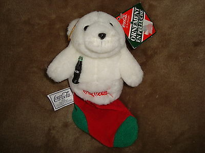 """Coca Cola Ornement Bear in Christmas Stocking 1997 Plush 7"""" long"""