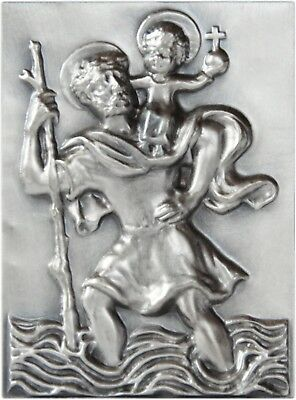 Antiquitäten & Kunst Stocknagel Heiliger Sankt St Reiseaccessoires Christophorus Relief Plakette Metall Stockschild