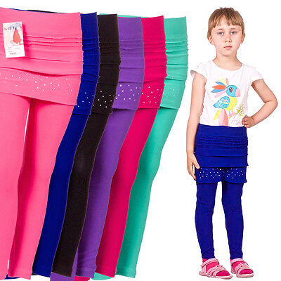KINDER Leggings mit Minirock Strass Mädchen Rock Jeggings Treggings Leggins ArK3