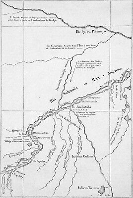 BRAZIL - MAP on the RIO SOLIMÕES or UPPER AMAZON - Engraving from 19th century