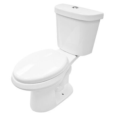 Soft Close Two Piece White Ceramic Toilet LT1D with Dual Flush System. Kennard Dual Flush European Rear Outlet Toilet Two Piece Elongated