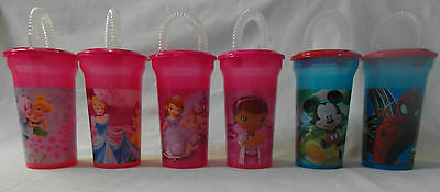 Children's Character Water Canteen with Straw -DOC McStuffins, Sofia the First..