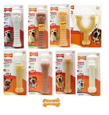 Nylabone Dura Chew Tough Dog Bone Toys  Chicken, Bacon or original Flavours