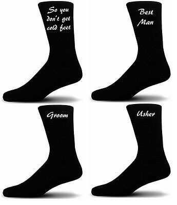 Black Luxury Cotton Rich Wedding Socks, Groom, Best Man, Usher Script Design