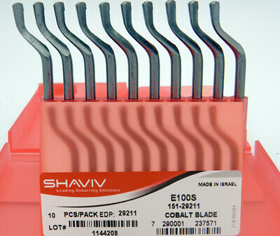 10pcs Type E100S Cobalt (HSCO) Right Hand Deburring Blades Shaviv EDP #29211