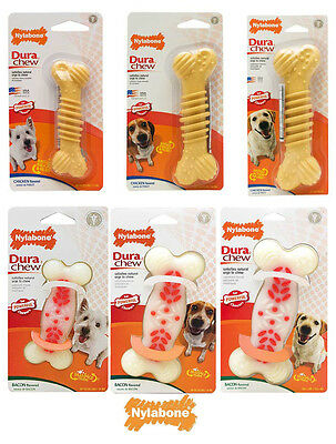 Nylabone Dura Chew Plus Tough Dog Bone Toys  Chicken or  Bacon cleans dogs teeth