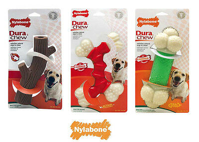 Nylabone Dura Chew Tough Dog Bone, Stick  and Double Action Powerful Toys Bacon