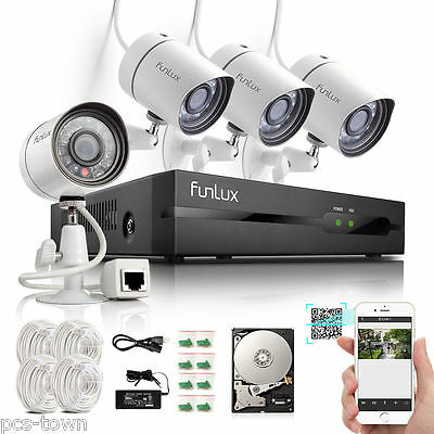 Funlux® 4CH NVR 1280*720P HD Network PoE Outdoor Home Security Camera System 1TB