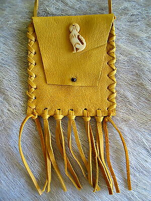 New Hand Crafted Wolf Coyote Collectible Leather Medicine Pouch First Nations