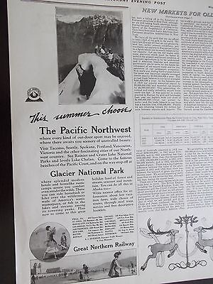 1923 Great Northern Railway Pacific Northwest Glacier National Park Advertise