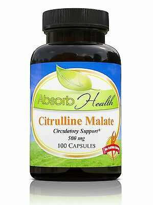 Citrulline Malate 500mg 100 Capsules Workout Supplement Raise NO2 and Arginine