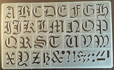30mm HIGH OLD STYLE ENGLISH ALPHABET STENCIL-PLASTIC FORM CAPITAL LETTERS-P/1605