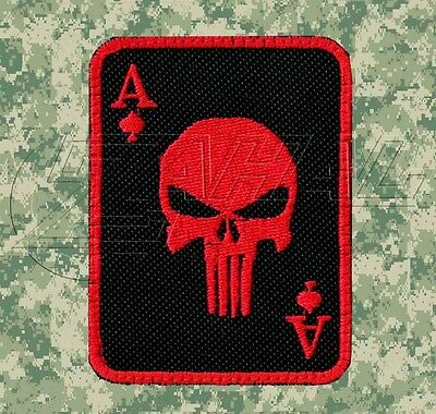 Red and Black Punisher Death Card Morale Patch