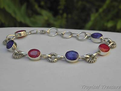 Indian Ruby & Sapphire 925 SOLID Silver Bracelet  #5539