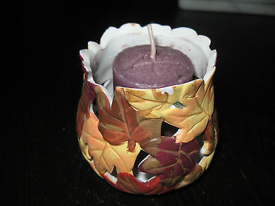 Fall Themed Leaves Votive Holders. Colorful Holiday Candle holder