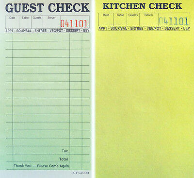 1 Pack Of 10-2-Part Guest Check Carbonless Kitchen Restaurant Receipt Sale Order