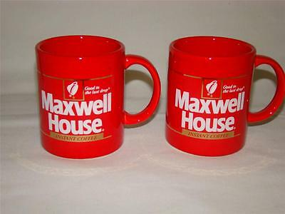 """Vintage Maxwell House Instant Coffee Cups Mugs Red """"Good to the Last Drop"""" (2)"""