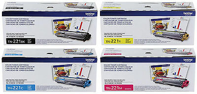 Genuine Oem Brother Tn221Bk Tn221C Tn221Y Tn221M Toner Set (4-Pack) Mfc-9340Cdw