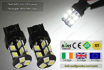 2x T20 580 W21/ 5W 7443 LED DRL Lamp Bulbs VW UP! Skoda Citigo Sandero Skoda Mii