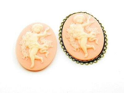 2 Cabochon/Kamee in apricot mit vanille, 40 x 30 mm