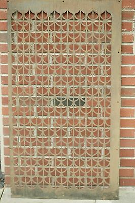 """Antique Art Deco Steel 48"""" Grid Panel Wall Art Air Intake Vent Cover Early 1900"""