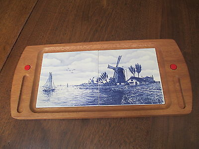"Antique Delft Hp Double-Tile ""Windmill""  Wooden Serving-Display Tray 8""X17 1/2"""