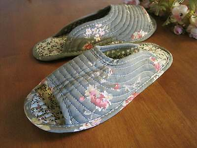 Country Rose Flower Cotton Quilted Soft Flat Shoes Slippers L8